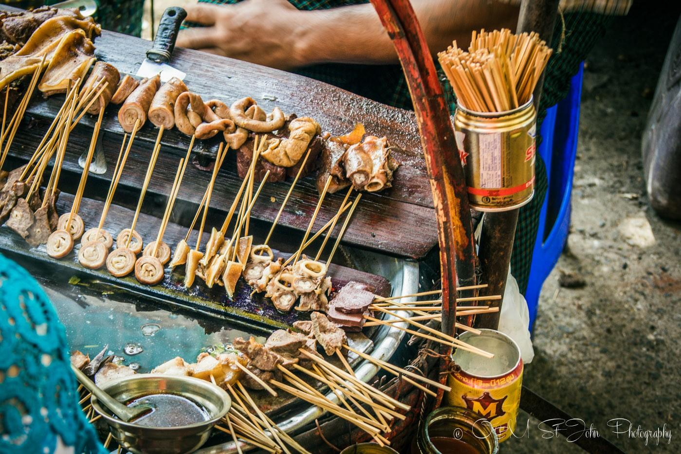 3 days in Yangon: Chicken bits on sticks on sale in Yangon. Myanmar