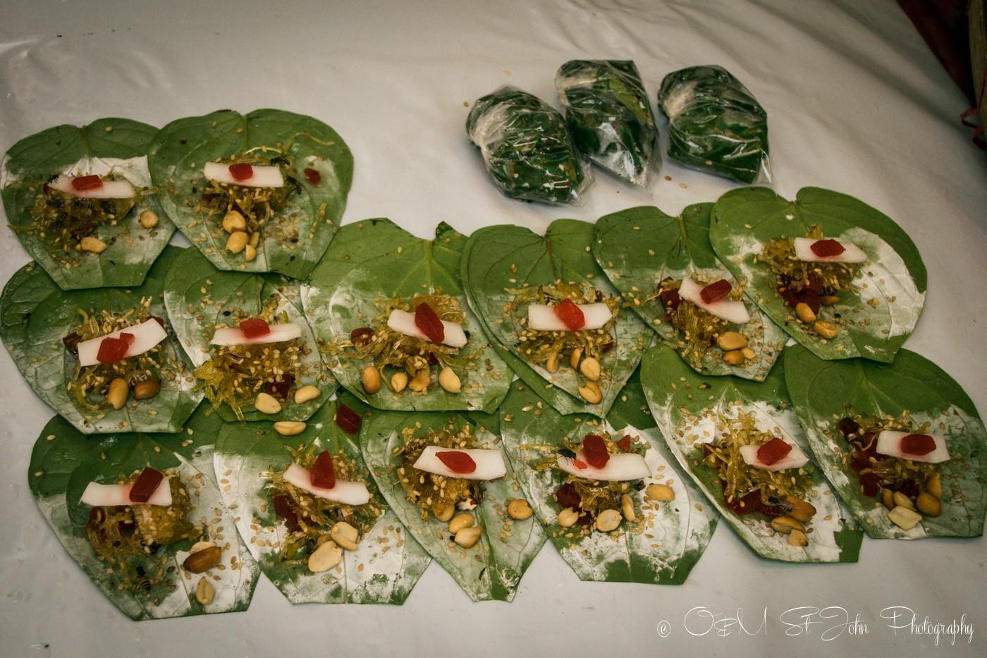 3 days in Yangon: Betel nut wraps ready for sale. Yangon, Myanmar