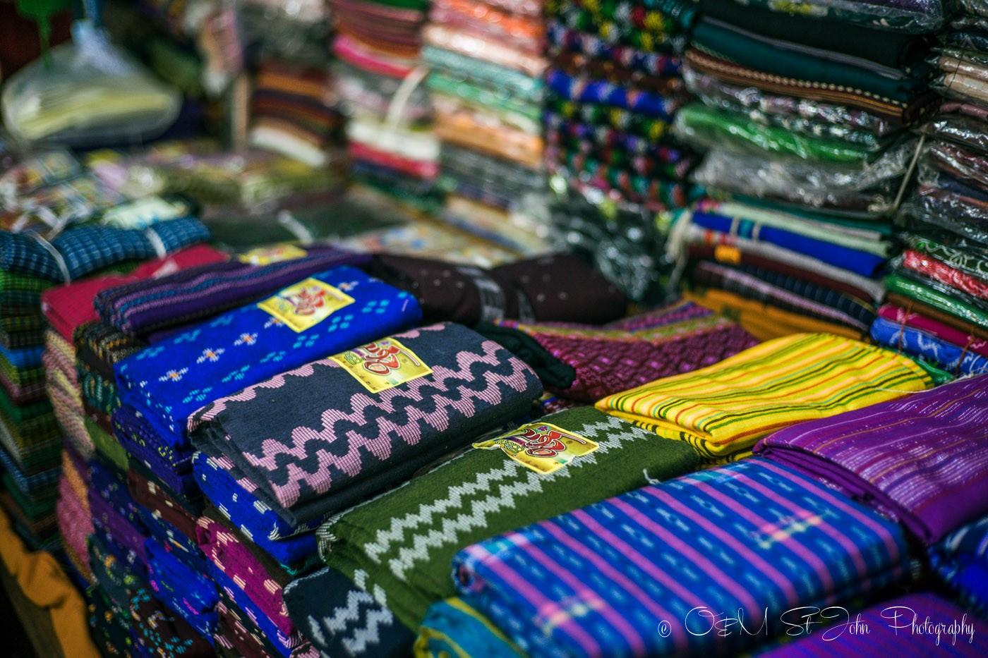 3 days in Yangon: Longyis on sale at the Bogyoke Aung San Market. Yangon. Myanmar