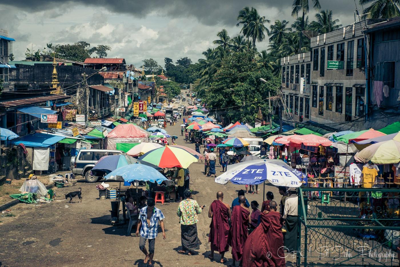Colourful street of Yangon. Myanmar
