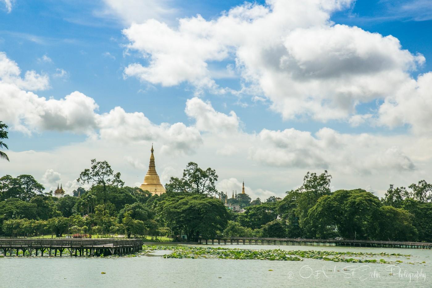 3 days in Yangon: Shwedagon Pagoda as seen from inside the Kandawgyi Park