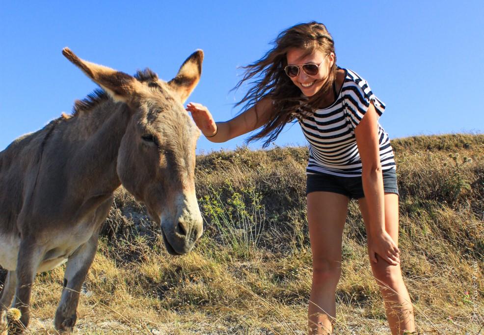 Oksana and Donkey in Greece