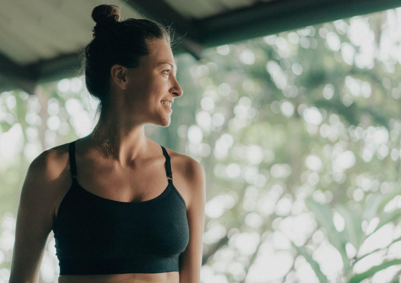 Oksana wearing Organic Basics SilverTech sports bra