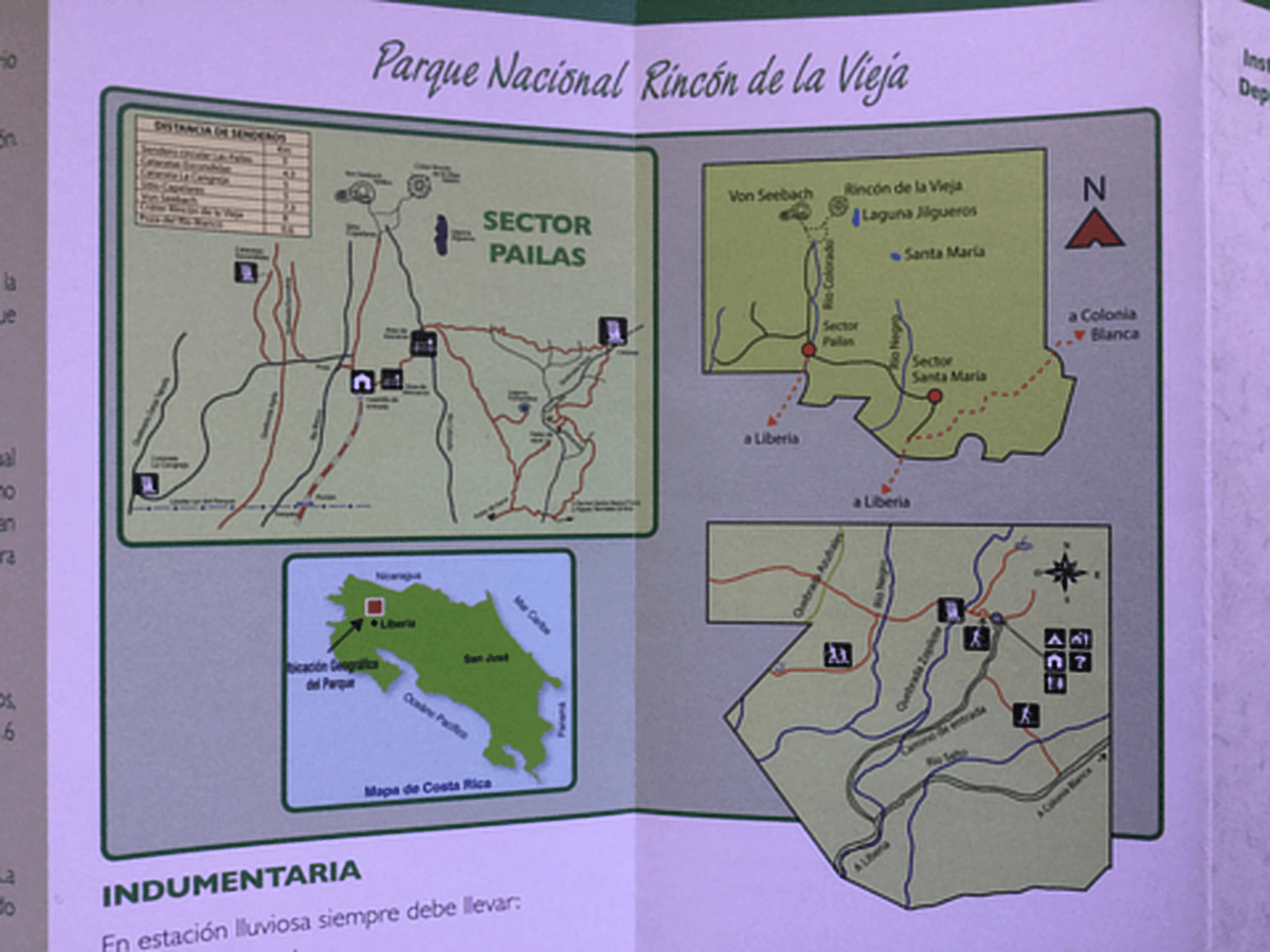 Map of Rincon de la Vieja National Park in Costa Rica