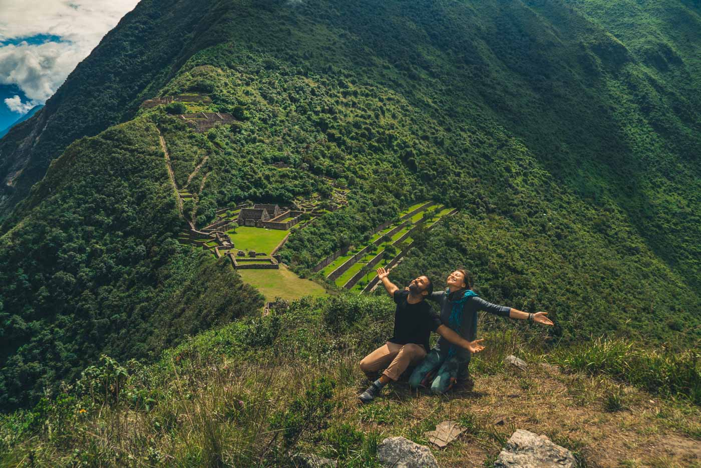 Giving thanks to Pachamama on the ceremonial platform at Choquequirao ruins