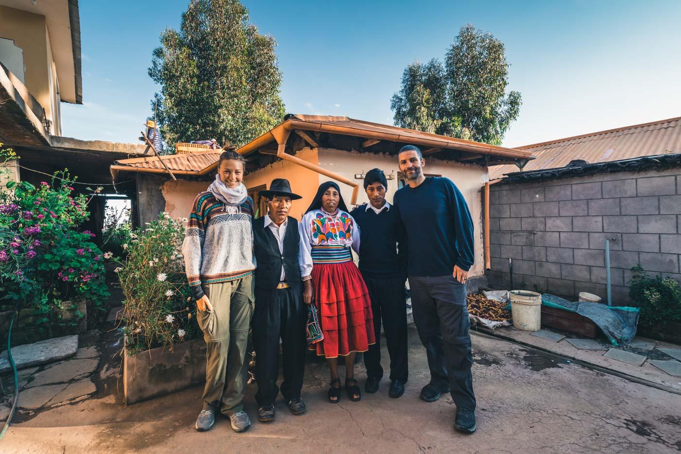 Our host family on Amantani Island, Lake Titicaca