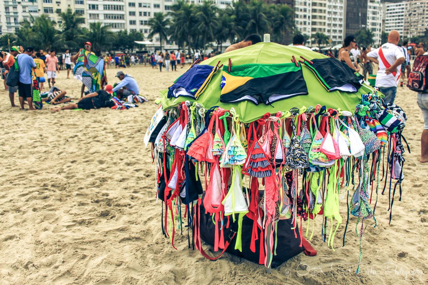 Bathing suit stall on Copacabana Beach, Rio de Janeiro. Brazil