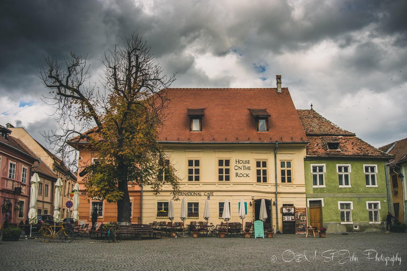 Main square in Sighisoara, Romania