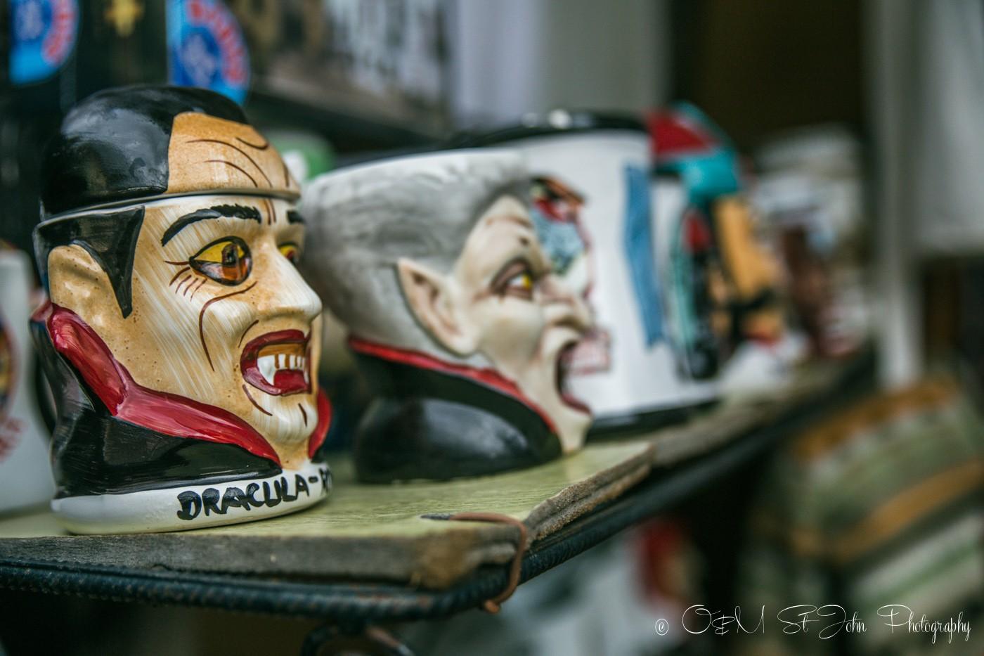 Vlad Dracula mugs on sale in Sighisoara, Romania