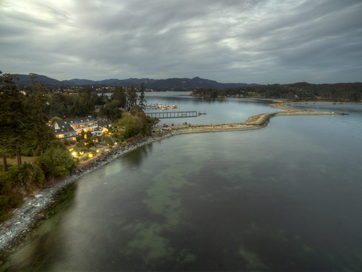 luxury resorts in british columbia: arial view of Sooke Harbour House