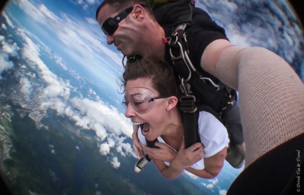Skydiving in Australia: up in the air...don't I look pretty?