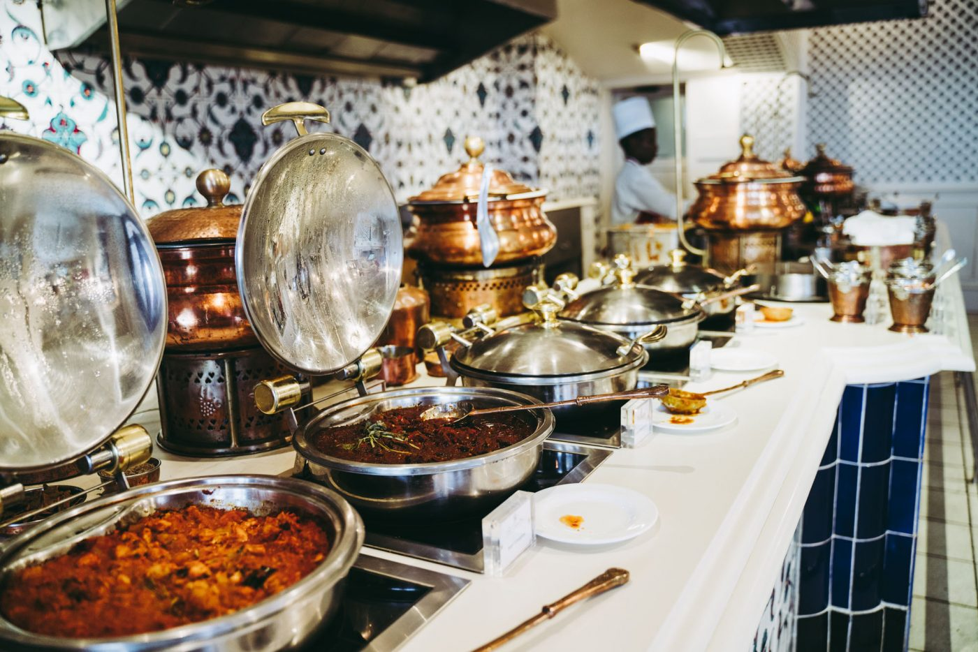 Curry buffet at the Oyster Box hotel in Durban, South Africa