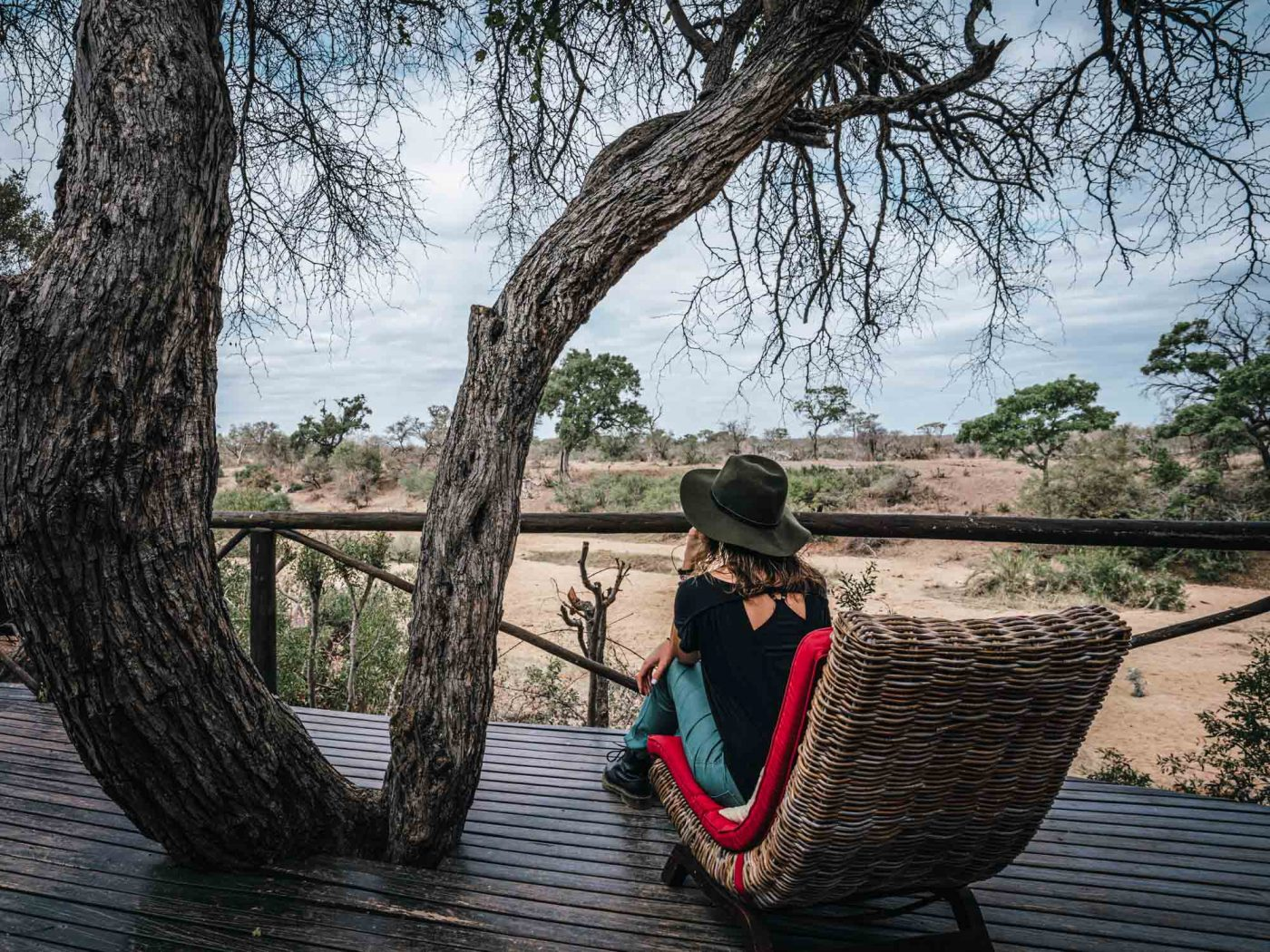 Overlooking the watering hole across the river at Pool hangs at Umlani Bushcamp, Timbavati Nature Reserve