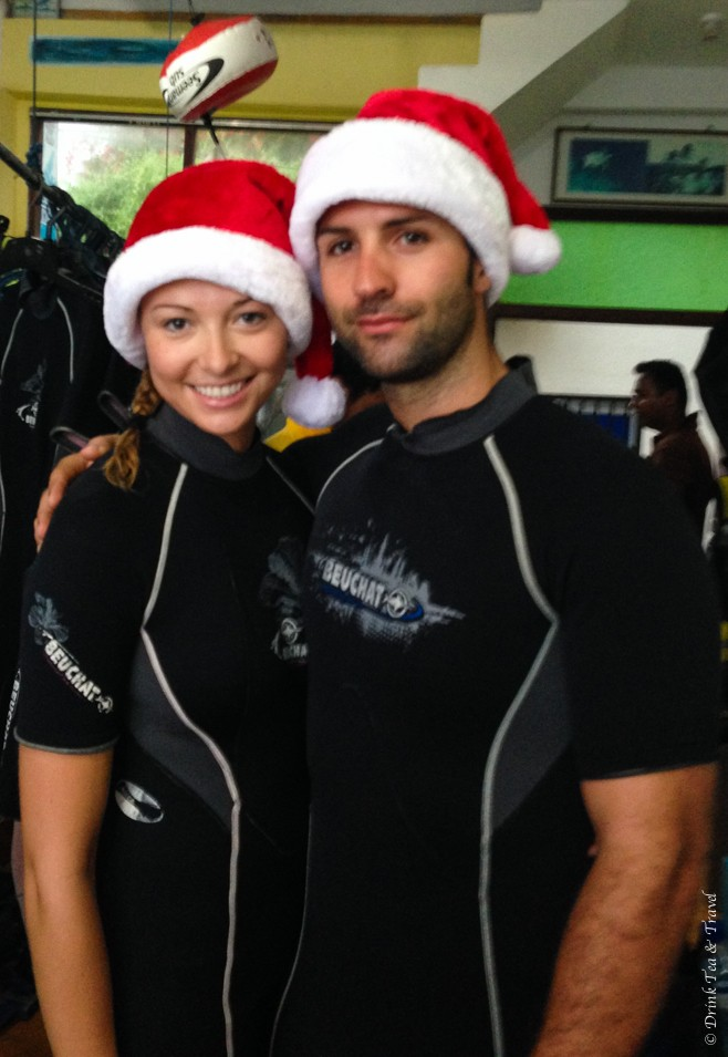Getting ready for our Christmas Day dive in Unawatuna, Sri Lanka