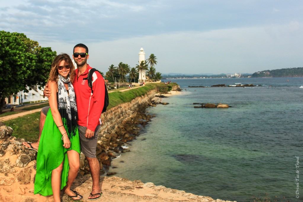 Max and I sporting Christmas colours at Galle Fort on Christmas Eve, Sri Lanka,