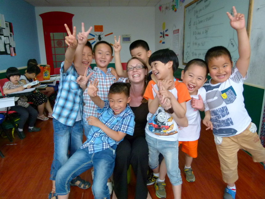 Teaching can be exhausting - Dariece with the boys in her kindergarten class. Photo courtesy of Goats on the Road