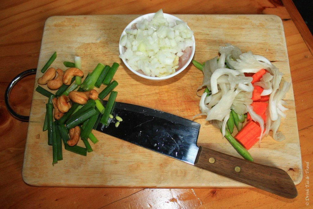 Cashew Nut Chicken ingredients, Thai Farm Cooking School
