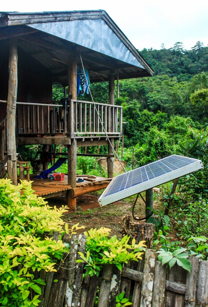 Solar panel outside the village home was meant to power up the house after dark