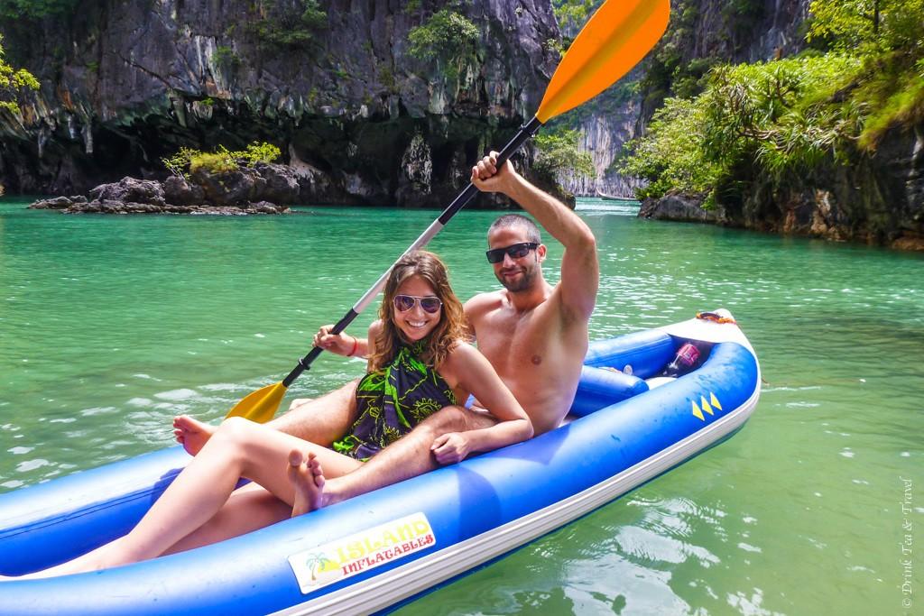 Kayaking in Thailand. Sarong makes a perfect top.