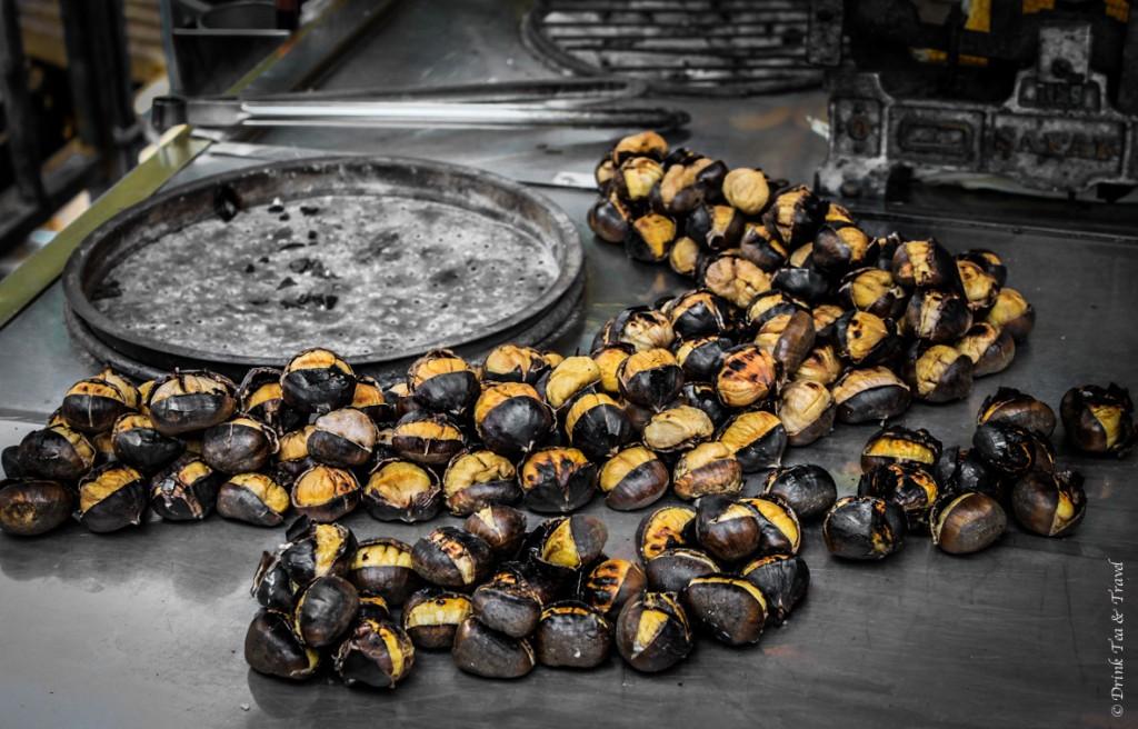 Roasted chestnuts (kestane) in Istanbul, Turkey