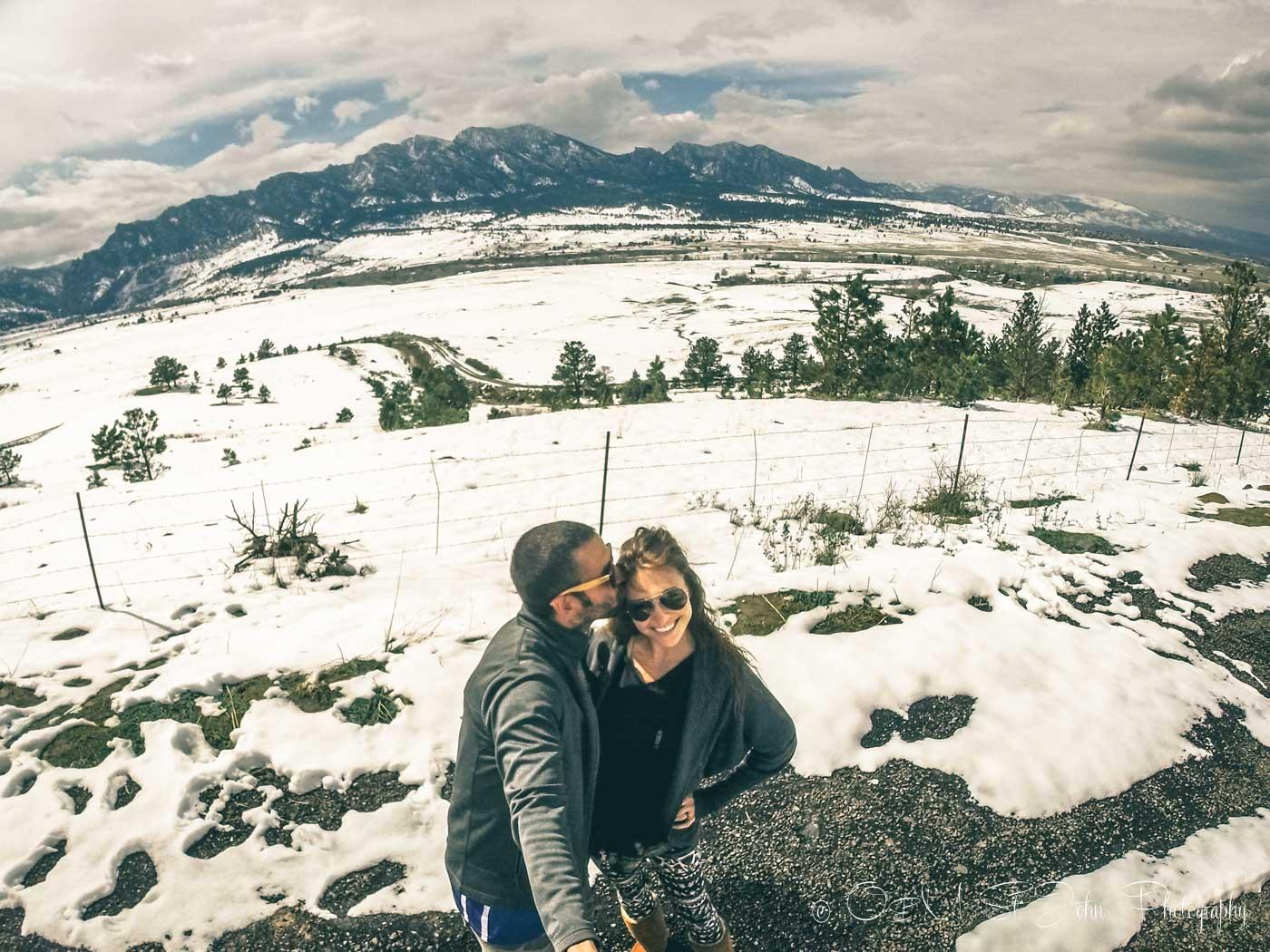 Max & Oksana overlooking Rocky Mountains in Colorado. USA. Road Trip