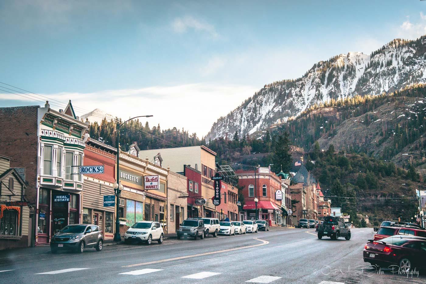 Colorado road trip: Main street in Ouray, Colorado. USA. Road Trip