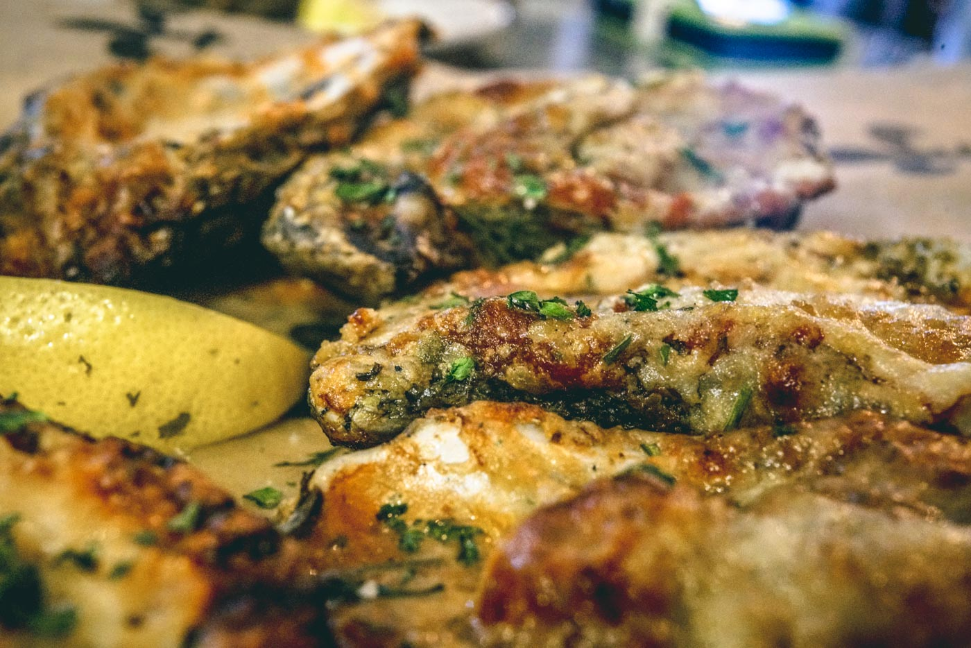 Char-grilled oysters - a specialty in New Orleans