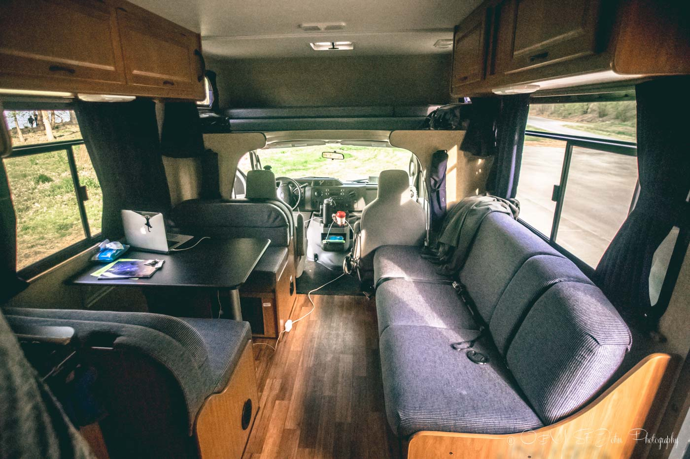 The interior of our Cruise America RV. Road trip planner