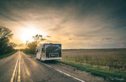 Cruise America RV on the road in Iowa. Road Trip USA