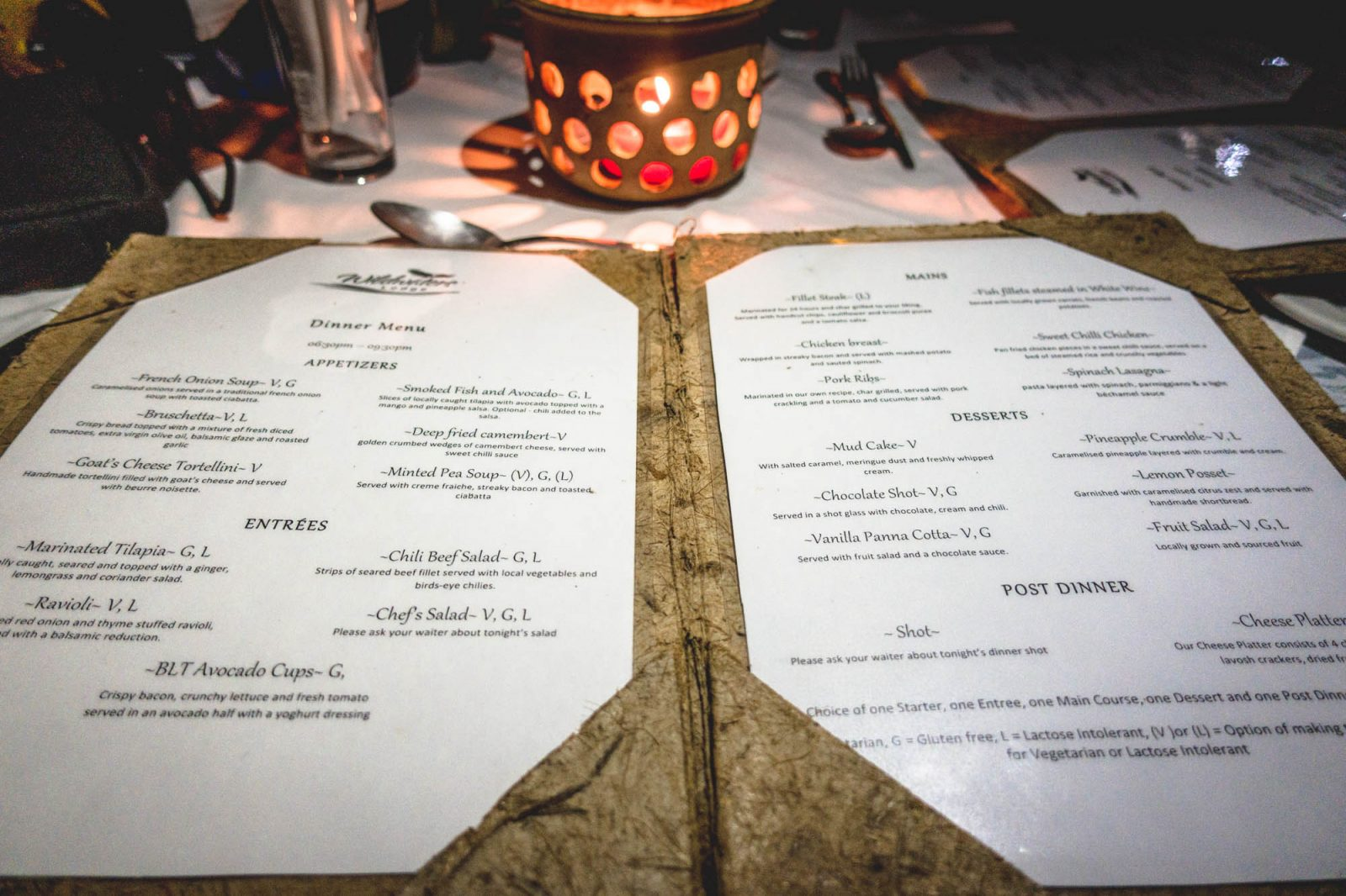 A la carte menu at the Wildwaters Lodge