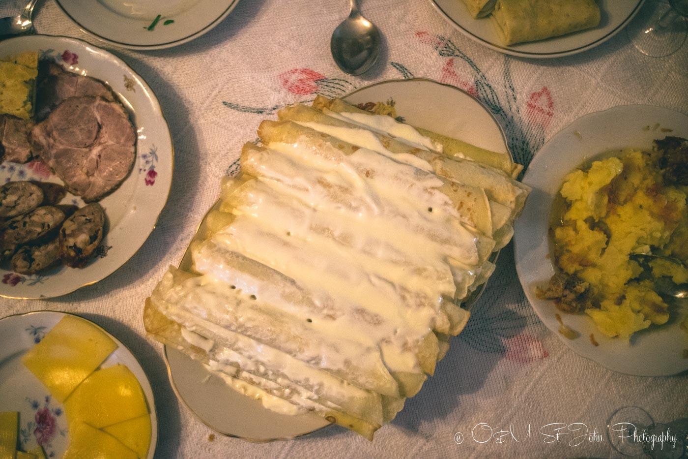 Blinchiki (Ukrainian pancakes) one of the must try dishes in Ukraine. Kiev