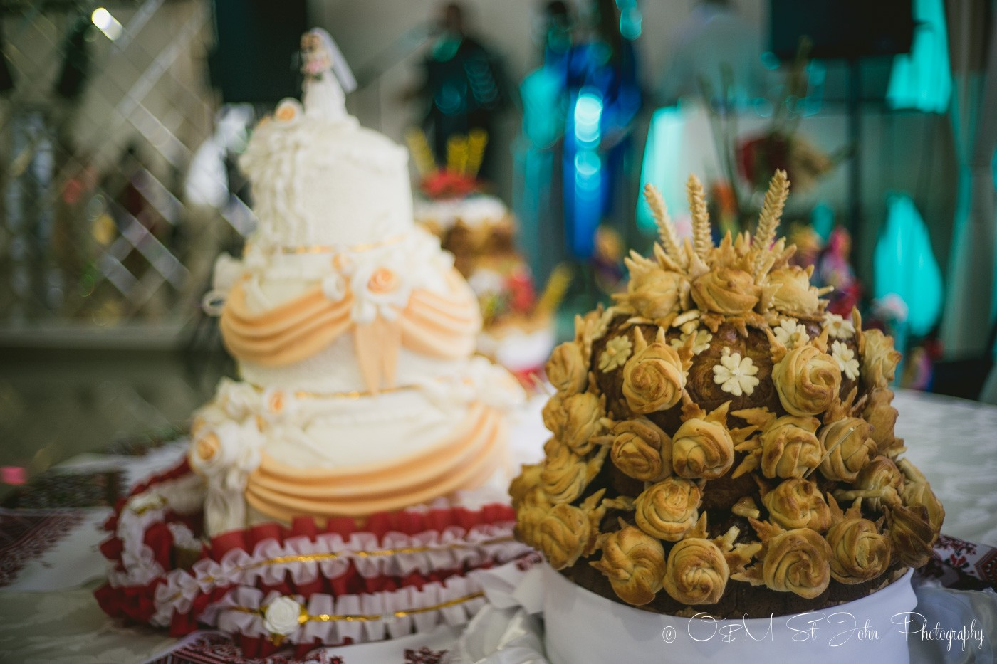 Korovai and Western Wedding cake at my cousin's wedding reception. Ukraine