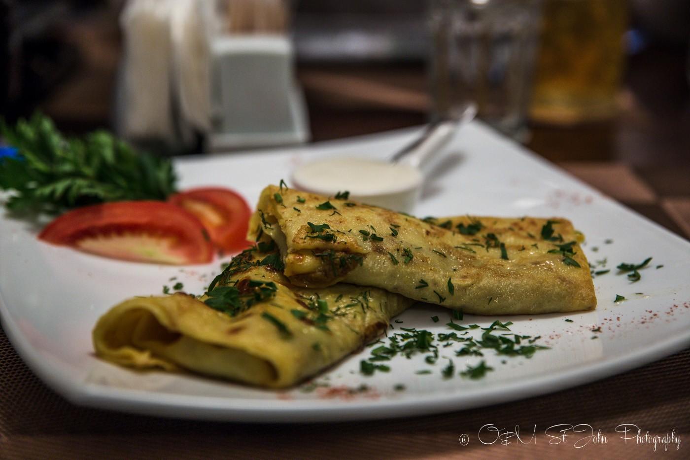 Blinchiki, Ukrainian food, crepes filled with meat. Ukraine