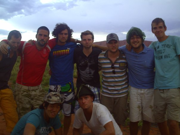 Max and the guys on The Rock Tour to Uluru. Norther Territory. Australia