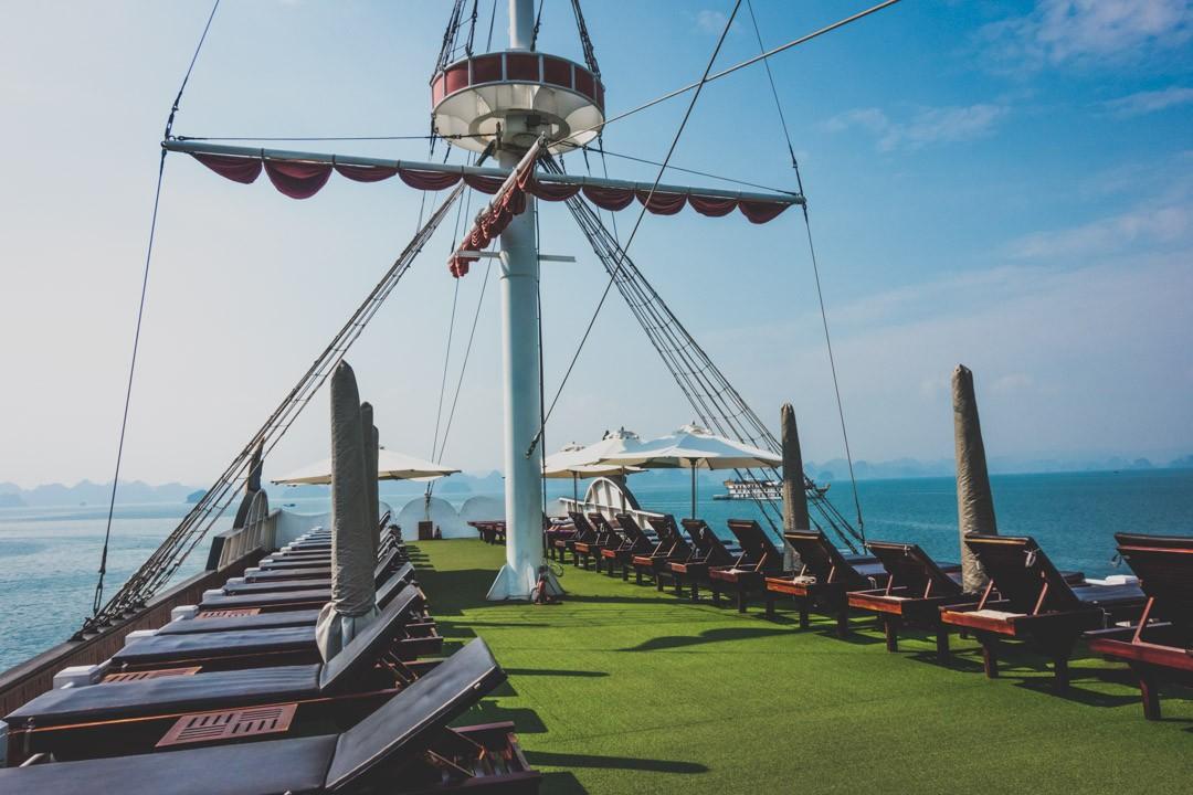 Sun deck on board Dragon Legend cruise
