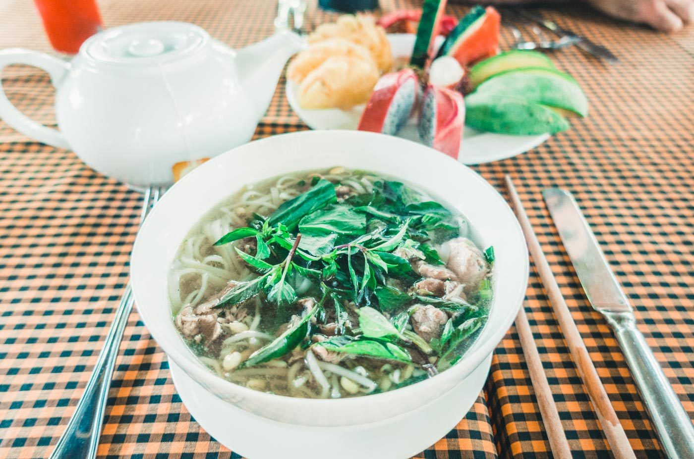 Delicious Pho Bo served at our guest house in An Bang Beach