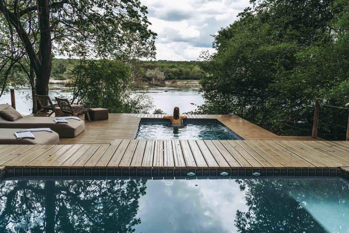 Pool overlooking Zambezi River at the Tsowa Safari Island