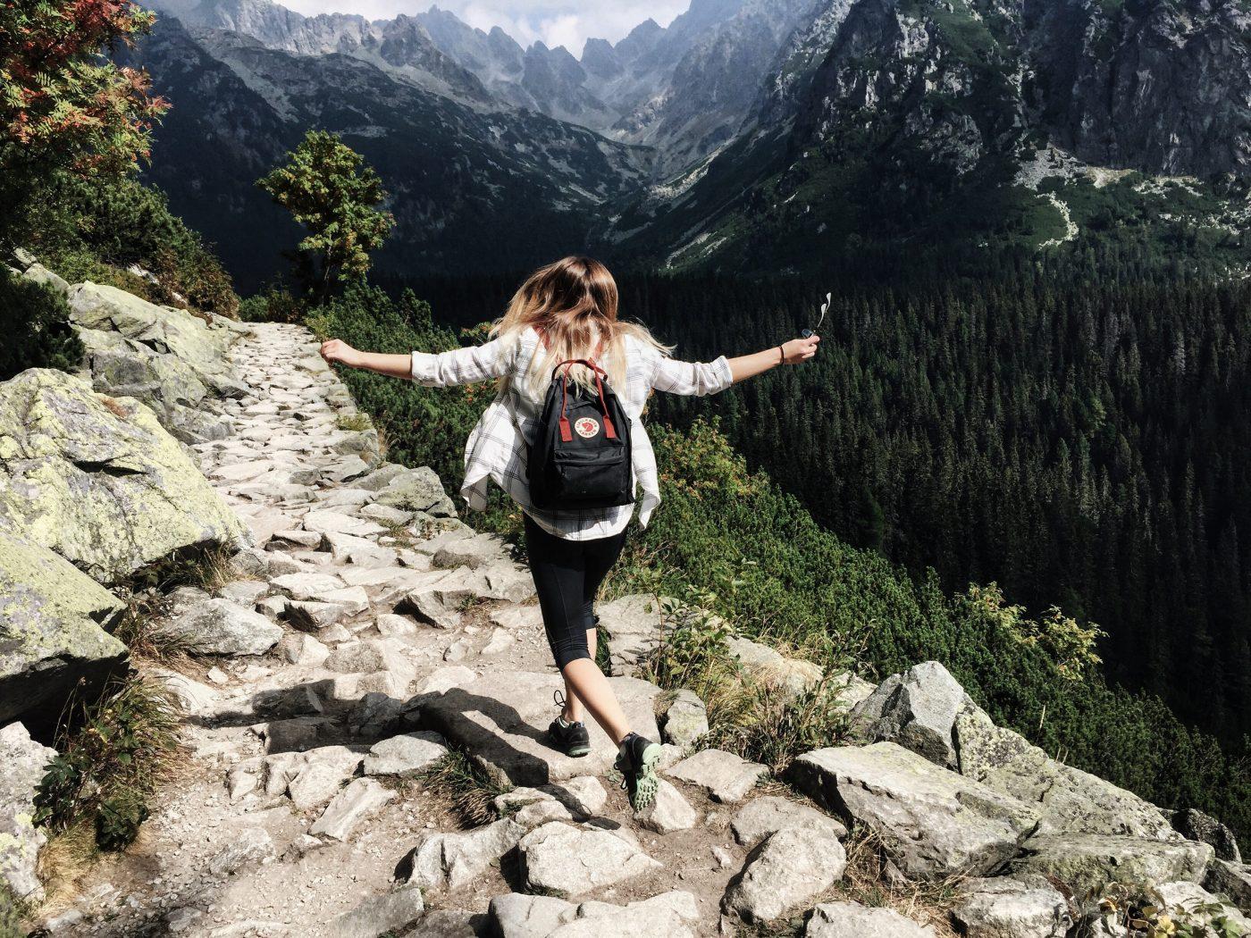 Minimalism: walking in the mountains