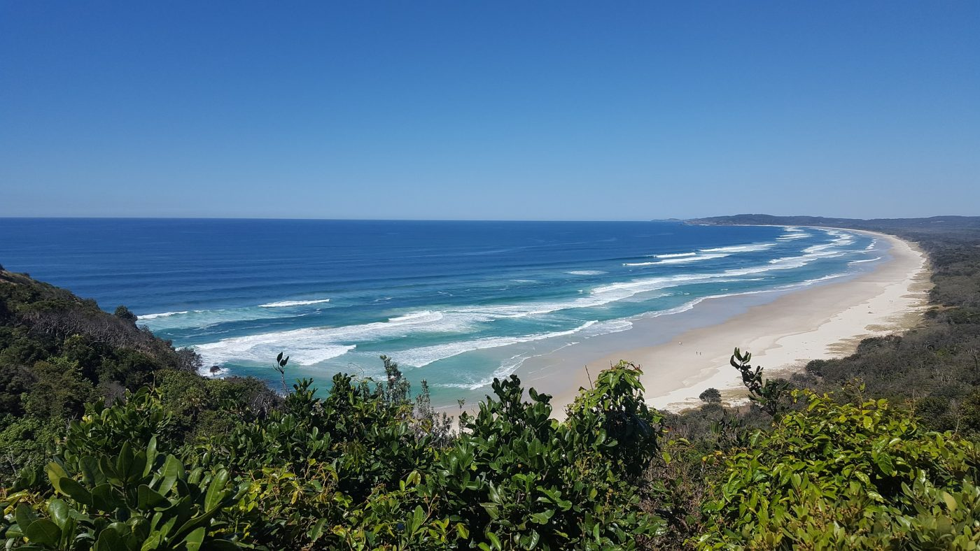 What to do in Byron Bay: lighthouse view of the beach