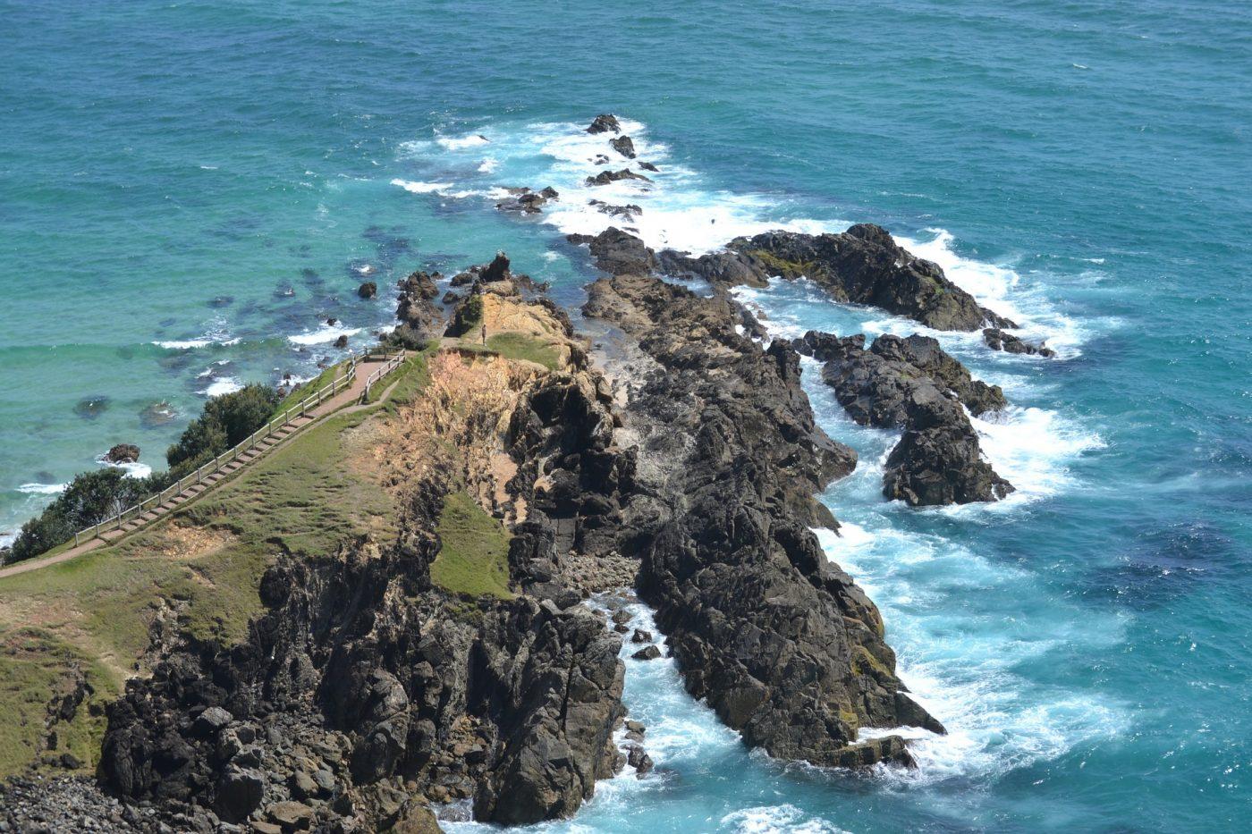 Things to do in Byron Bay: rocky ocean of Byron Bay Australia