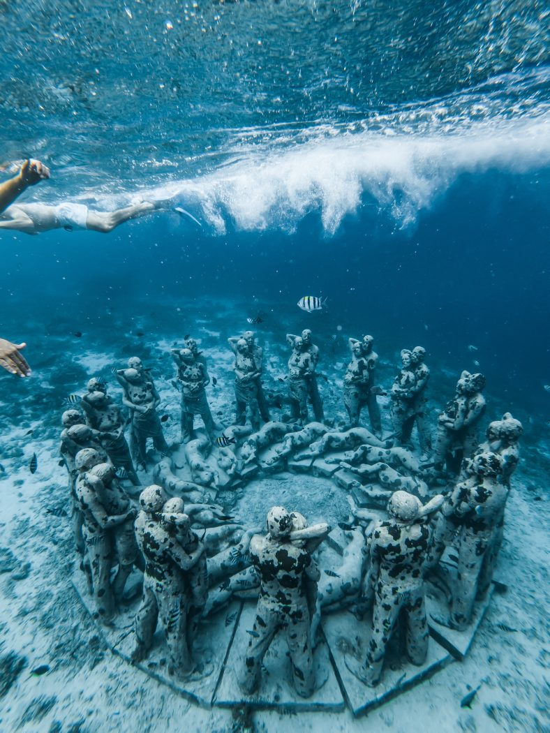 Underwater statue on Gili Islands