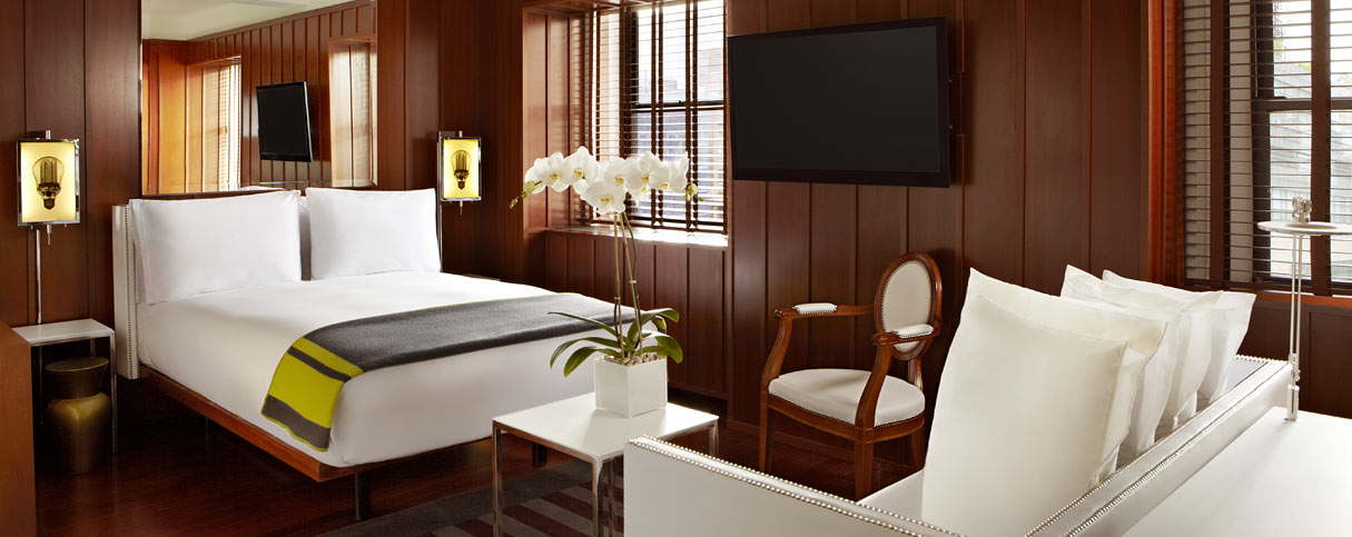 Eco-Friendly Hotels New York City: Hudson Hotel guestroom