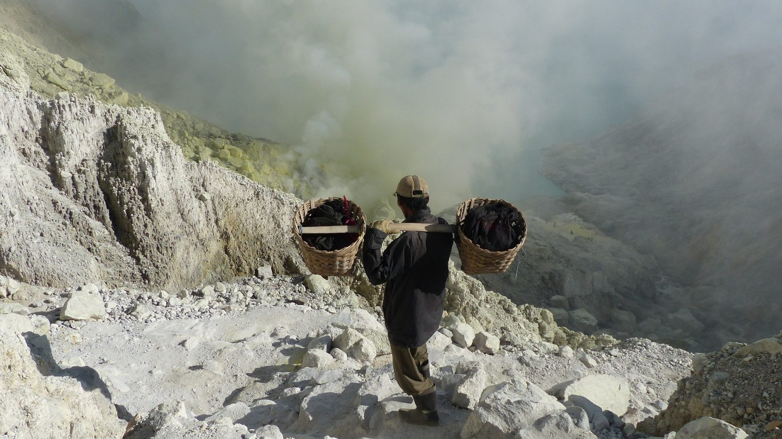Descending toward the Ijen Crater, East Java, Indonesia