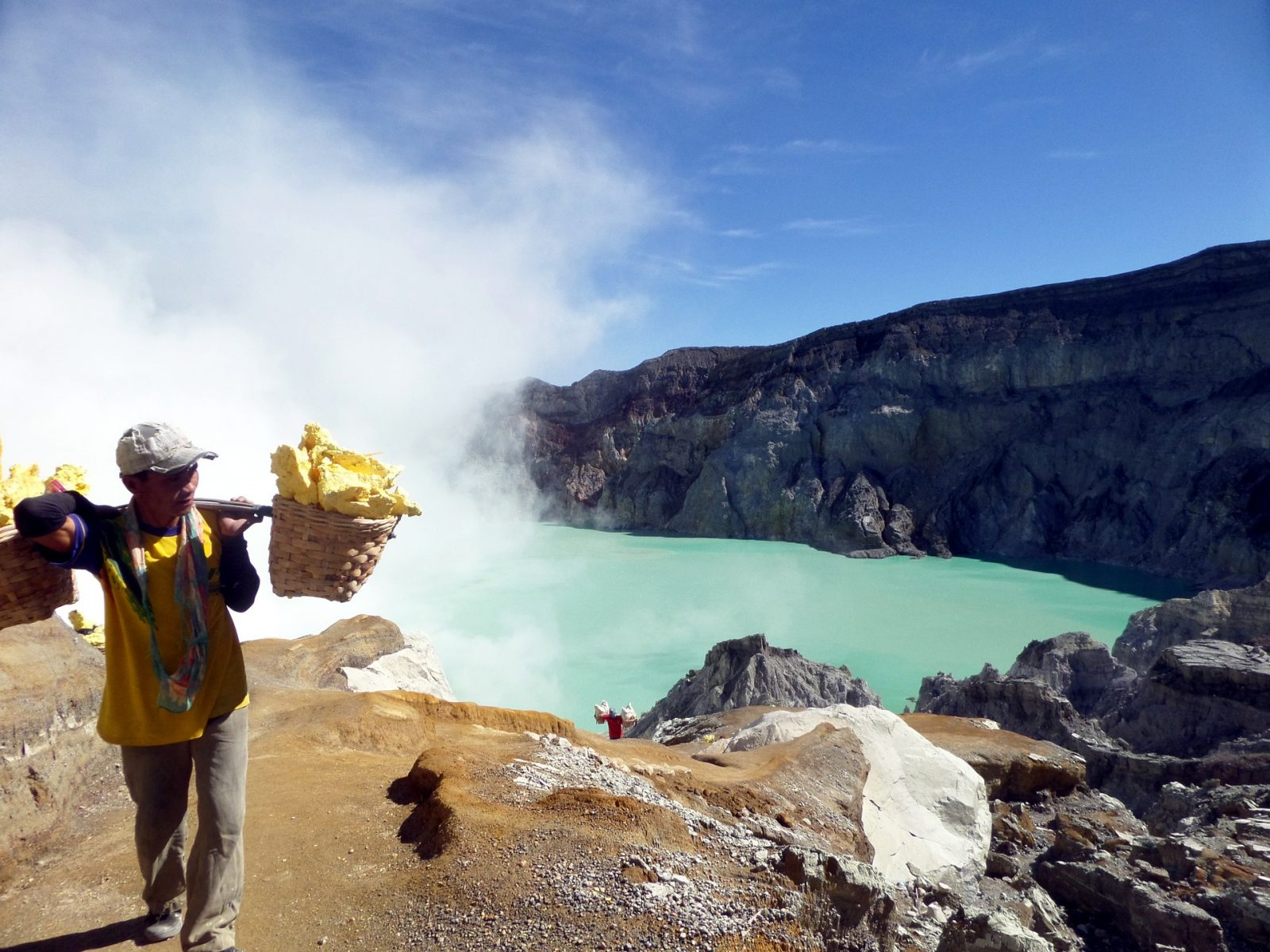 Miners at Ijen Crater, East Java, Indonesia