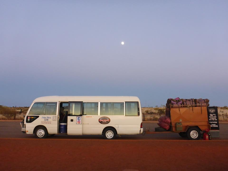 Uluru Tours: Rock Tour bus hauling everyones gear. Photo by the Rock Tours.