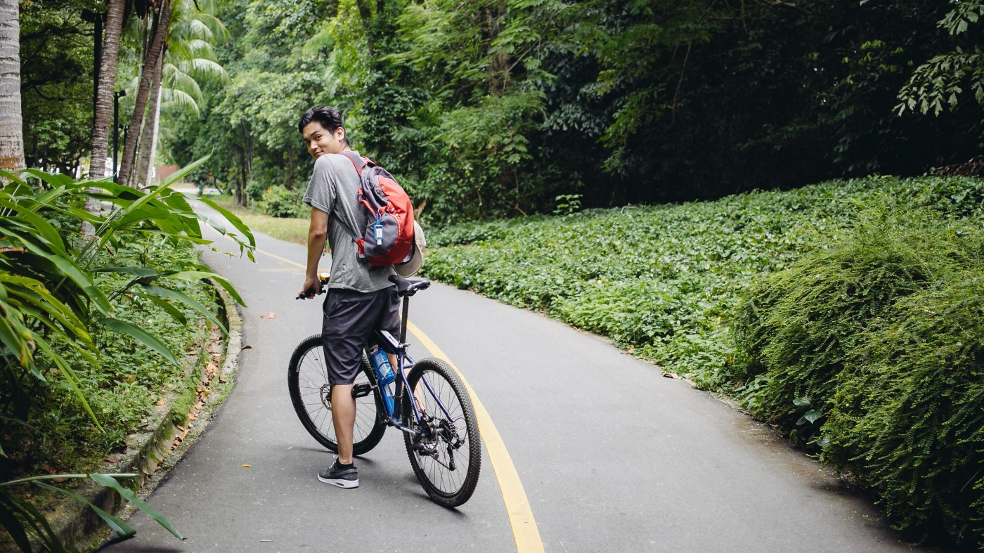 Staying Fit While Traveling: bicycling on a path