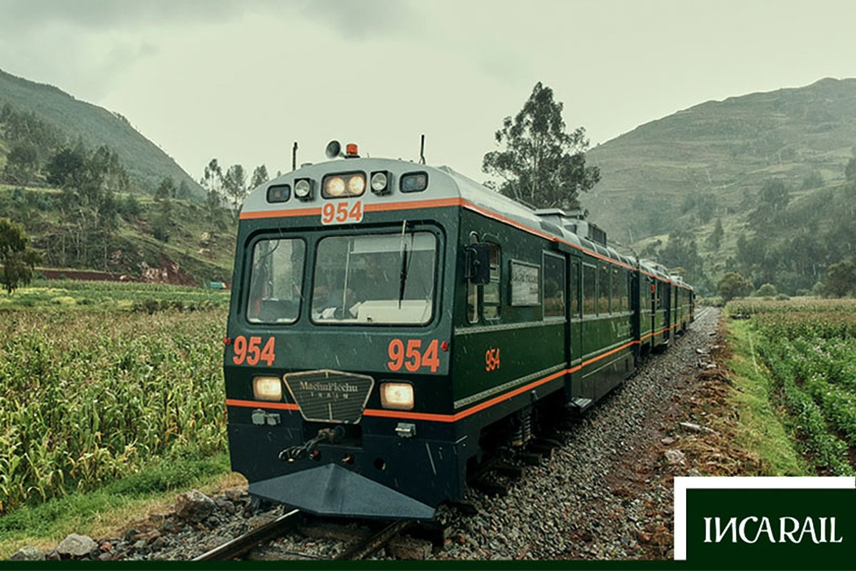 Arriving by taking the train to Machu Picchu